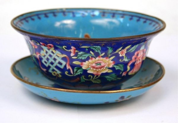 Chinese Canton Enamel Blue Bowl & Dish Set