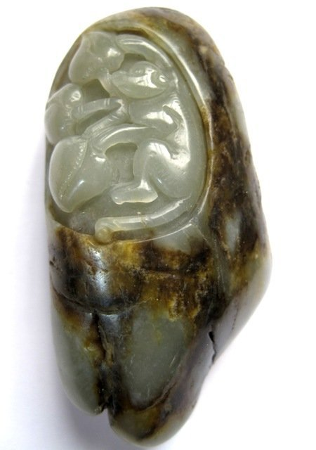 Chinese Celadon Jade Carved Monkey & Peaches