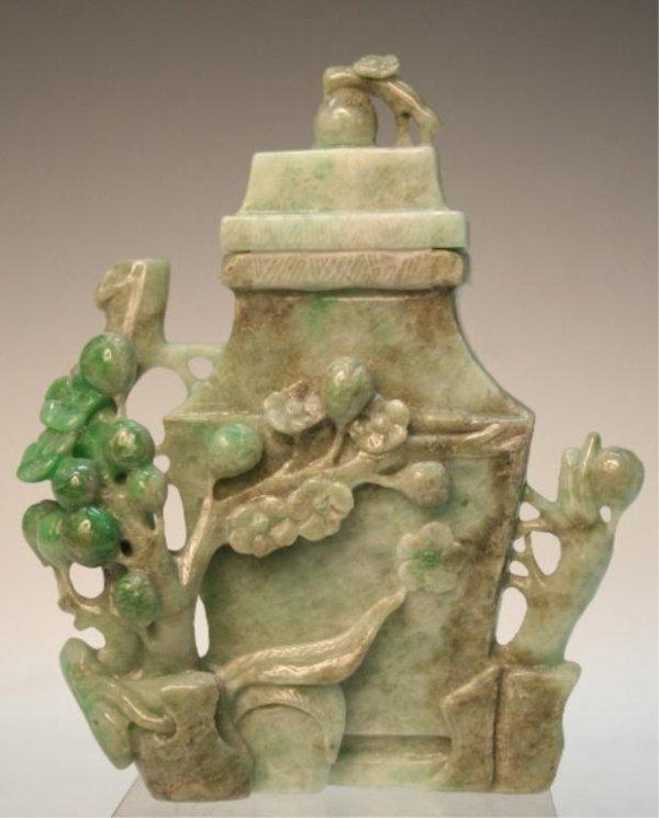 Chinese Jadeite Vase with Lid