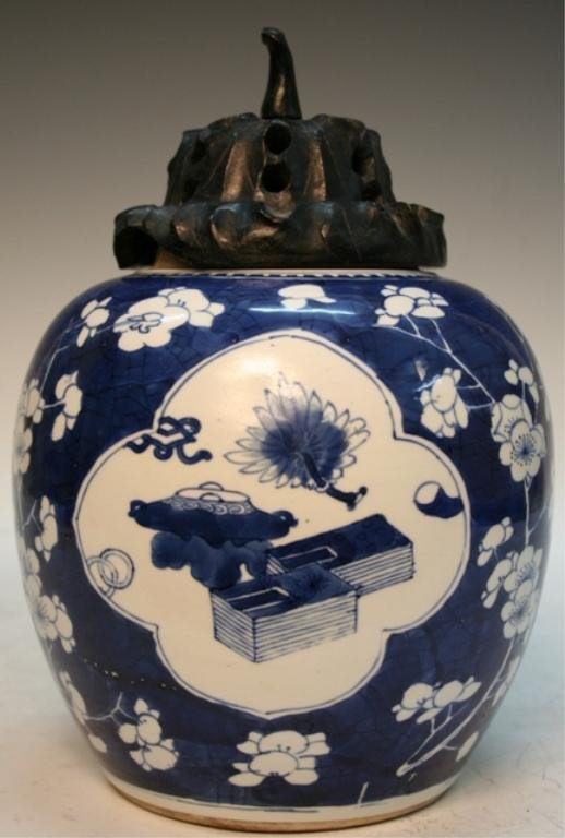 19thC. Chinese Porcelain Blue & White Jar with Lid