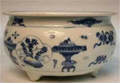 Chinese Blue & White Porcelain Censer 19th C.