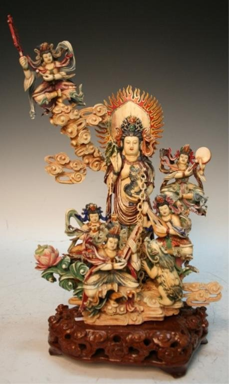 19th-20th C. Ivory Chinese Figural Group