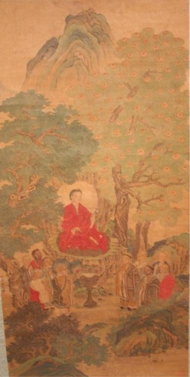 19th C. Chinese Scroll Painting of Buddha