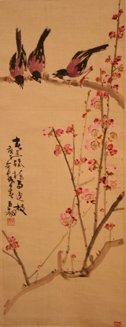 Chinese Scroll of Birds and Flowers