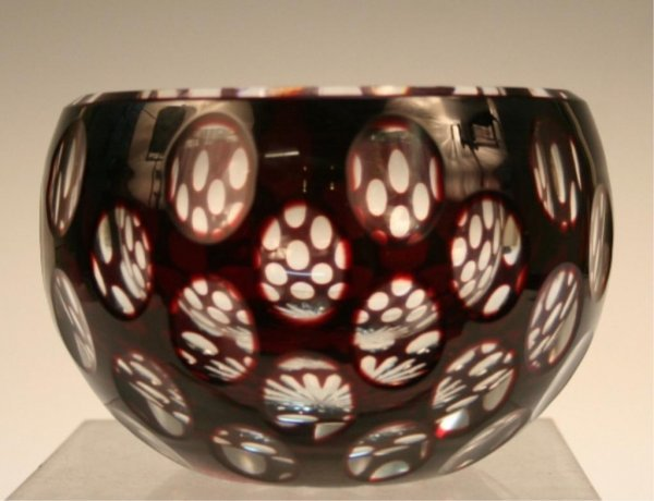 French Thousand Windows Glass Bowl 1940s