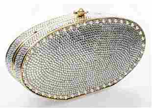 Judith Leiber Crystal And Faux-Pearl Minaudiere