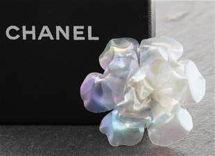 Chanel Iridescent Camellia Flower Brooch