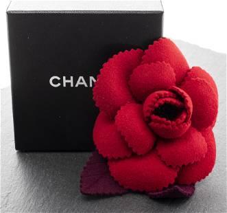 Chanel Red & Navy Felt Camellia Flower Brooch
