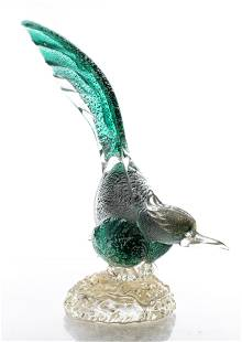 Murano Venetian Blown Glass Bird Sculpture
