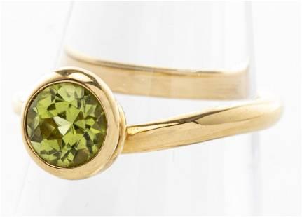 Angela Cummings 18K Yellow Gold Round Peridot Ring