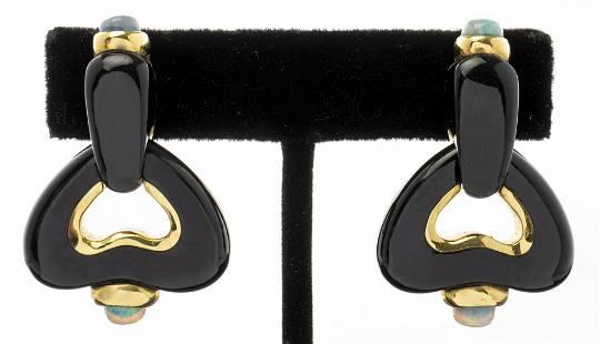 Angela Cummings 18K Gold Onyx & Opal Clip Earrings
