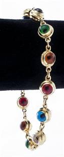 "14K Yellow Gold & Glass ""Evil-Eye"" Bracelet"