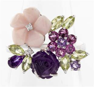 Effy 14K Gold Floriform Diamond Colored Stone Ring