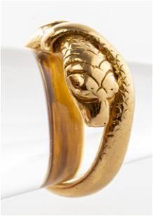 Vintage 18K Yellow Gold Snake Ring