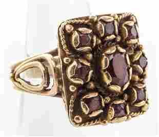 Mid-Century Modern 14K Yellow Gold & Garnet Ring