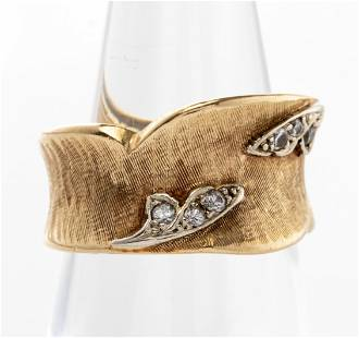Vintage 14K Yellow Gold Diamond Wide Ring