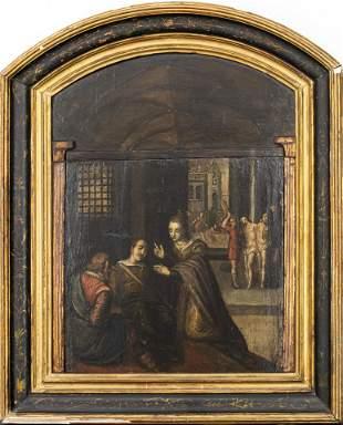 Northern European Baroque Oil on Panel Altarpiece