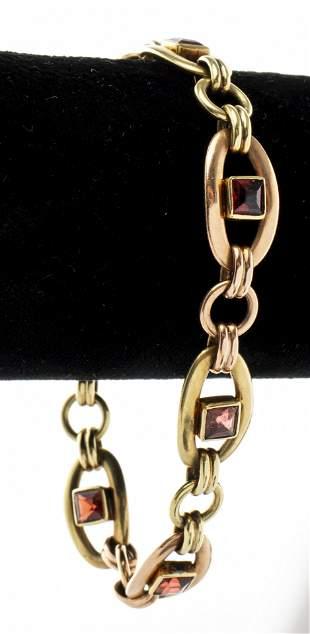 14K Yellow & Rose Gold Garnet Link Bracelet