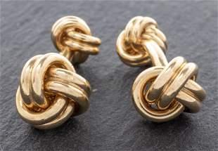 Tiffany & Co 14K Yellow Gold Double Knot Cufflinks