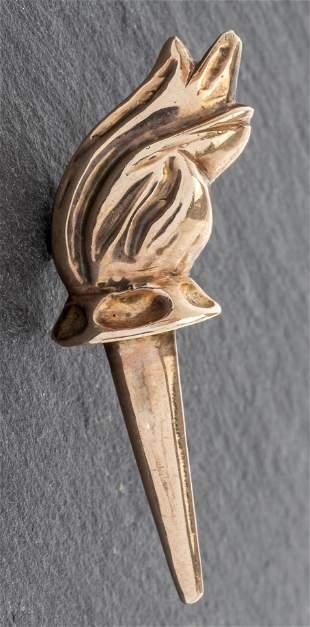 Vintage 10K Rose Gold Torch Motif Tie Tac Pin