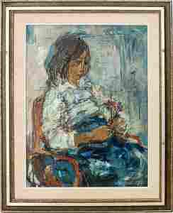 "Ruth Schloss ""Girl with Flower"" Oil on Canvas"