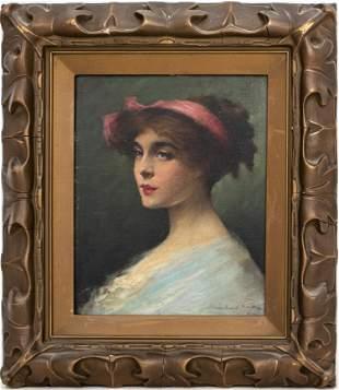 """Herbert A. Morgan """"Portrait of a Woman"""" Oil"""