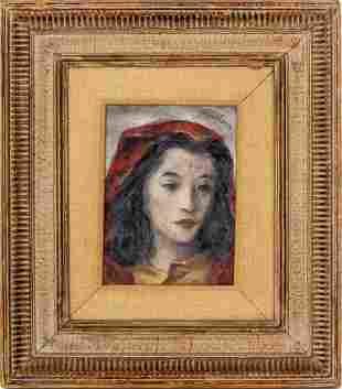 "Fletcher Martin ""Portrait of a Woman"" Oil on Board"