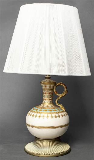 Moorish Parcel Gilt White Ewer Table Lamp