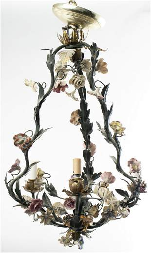 Rococo Style Tole And Porcelain Chandelier