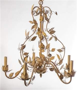 Rococo Style Foliate Motif Tole Chandelier