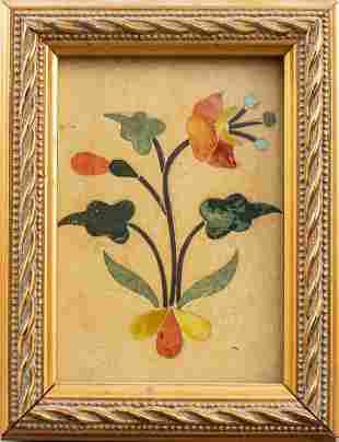 Italian Pietra Dura And Enamel Plaque