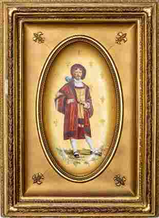 French Porcelain Plaque of a Cavalier