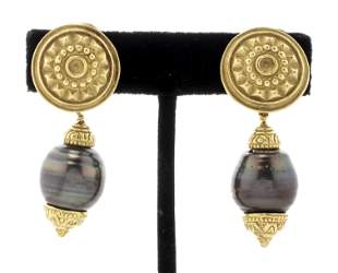18K Gold & Tahitian Baroque Pearl Earrings