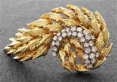 Vintage 18K Yellow Gold Diamond Flexible Brooch