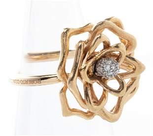Roberto Coin 18K Rose Gold & Diamond Rose Ring