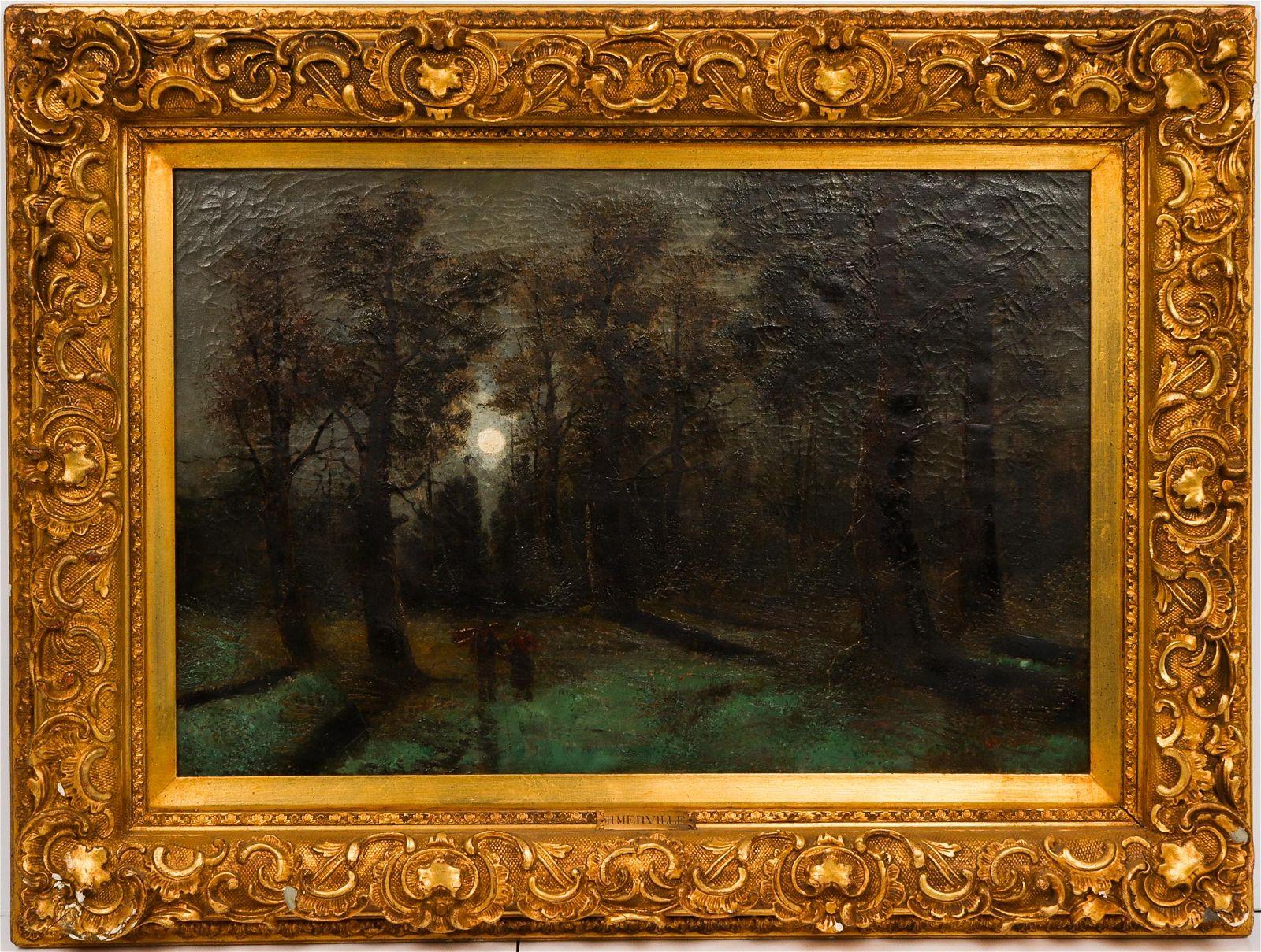 "H. Merville Attrib. ""Moonlit Path"" Oil on Canvas"