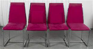 Modern Upholstered Aluminum Side Chairs, 4
