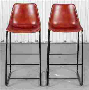 Leather Upholstered Tall Stools, 2
