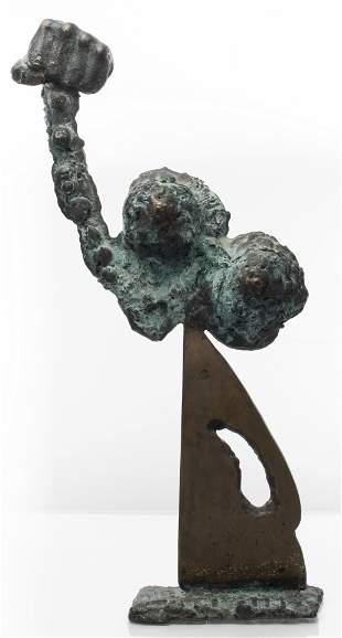 Illegibly Signed Brutalist Bronze Sculpture