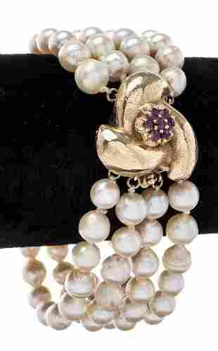 14K Gold Ruby Floriform Clasp Pearl Bracelet