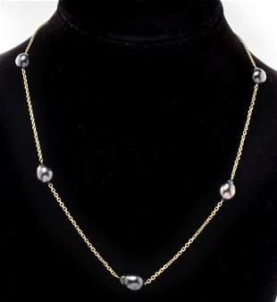 14K Yellow Gold Black Baroque Pearl Necklace