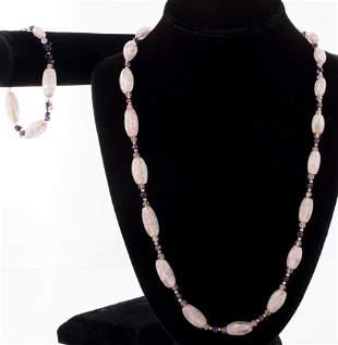10K YG, Rose Quartz & Amethyst Necklace & Bracelet