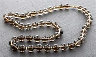 14K Yellow Gold & Smoky Quartz Beaded Necklace
