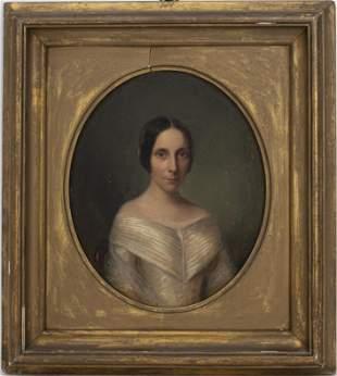 "English School ""Portrait of a Woman"" Oil on Board"
