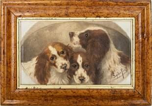 "Sophie Pir ""Spaniels"" Oil on Canvas"