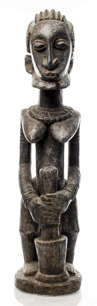 African Dogon Carved Figure With Bowl, Mali