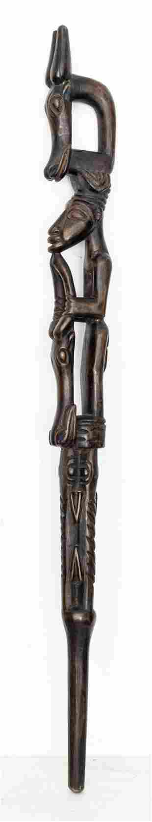 African Bamum Figural & Zoomorphic Cane, Cameroon