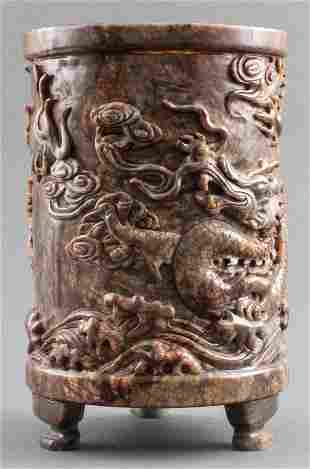 Chinese Dragon Carved Marble Brush Pot