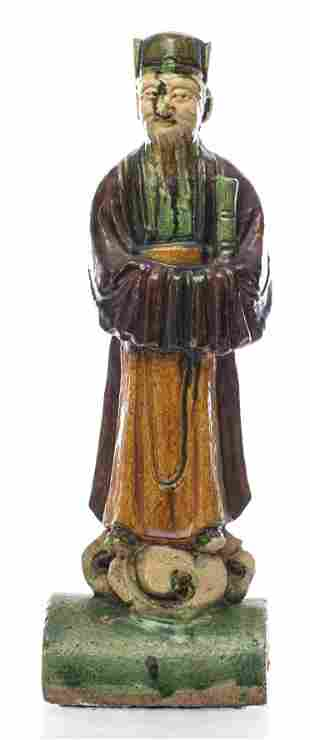 Chinese Sancai Glazed Roof Tile of an Immortal