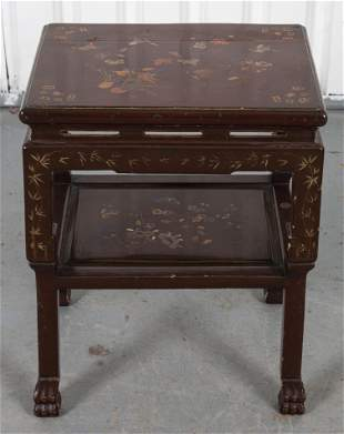 Chinese Brown Lacquer Two Tier Side Table